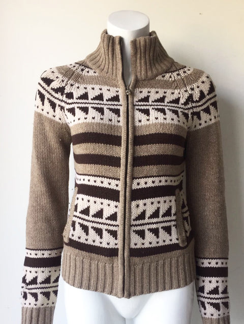 TNA Brown Knit Tribal Lamb's Wool Sweater Size M