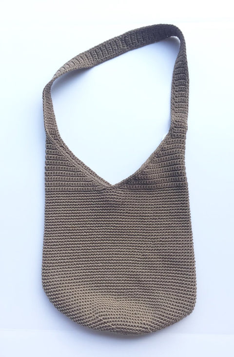 The Sak Taupe Crochet Shoulder Bag