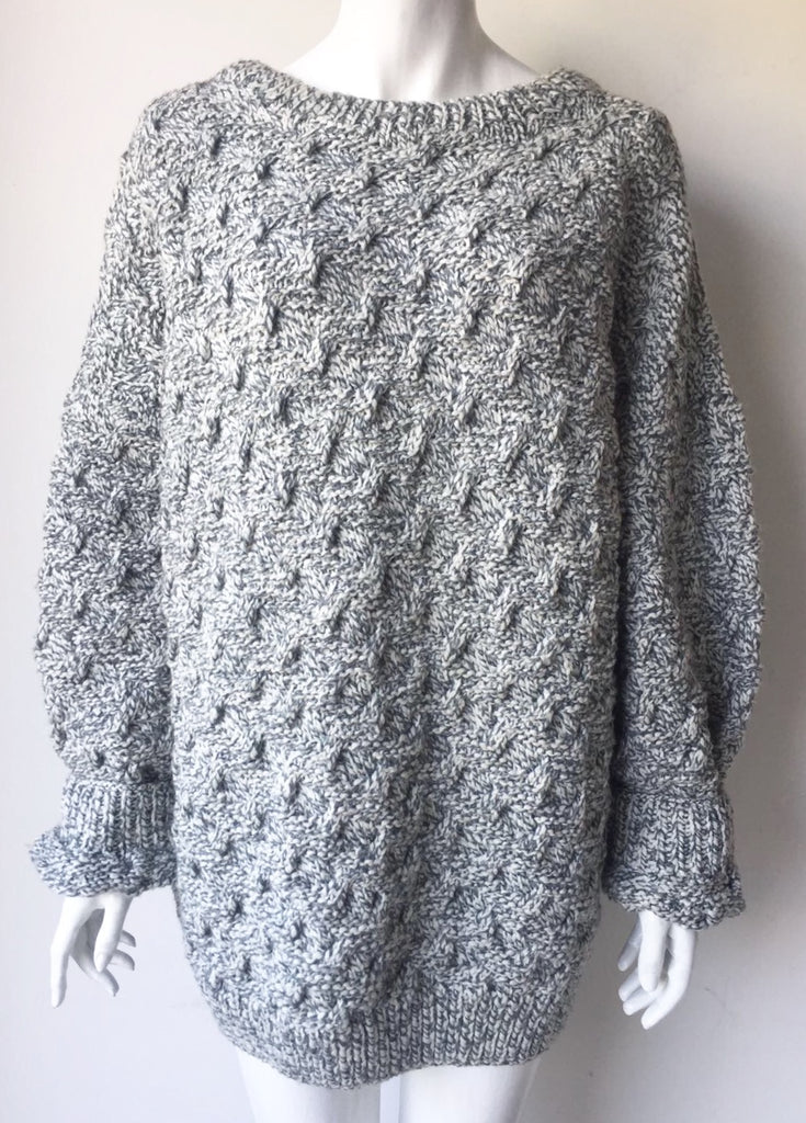 Vintage Oversized Grey Knit Sweater Size XL