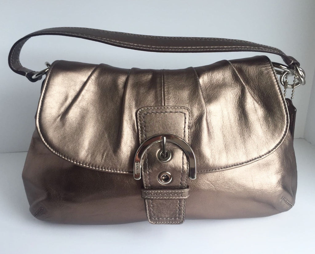 Coach Metallic Pewter Leather Bag
