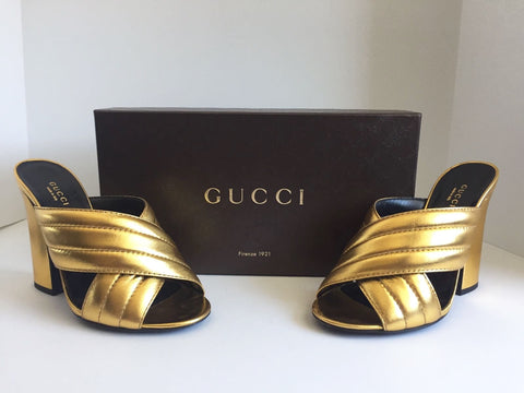 Gucci Gold Webby Mule Sandals Size 38.5