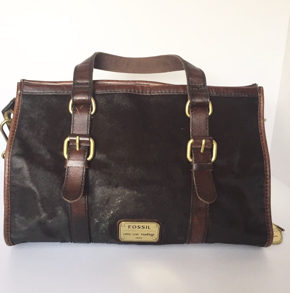 Fossil Vintage Collection Brown Cowhide Leather Tote