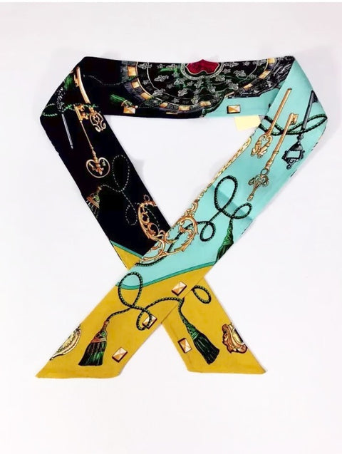 Brand New Hermes Teal & Mustard Multi-Color Twilly Scarf