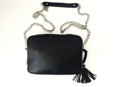 Danier Black Pebbled Leather Cross Body Chain Bag