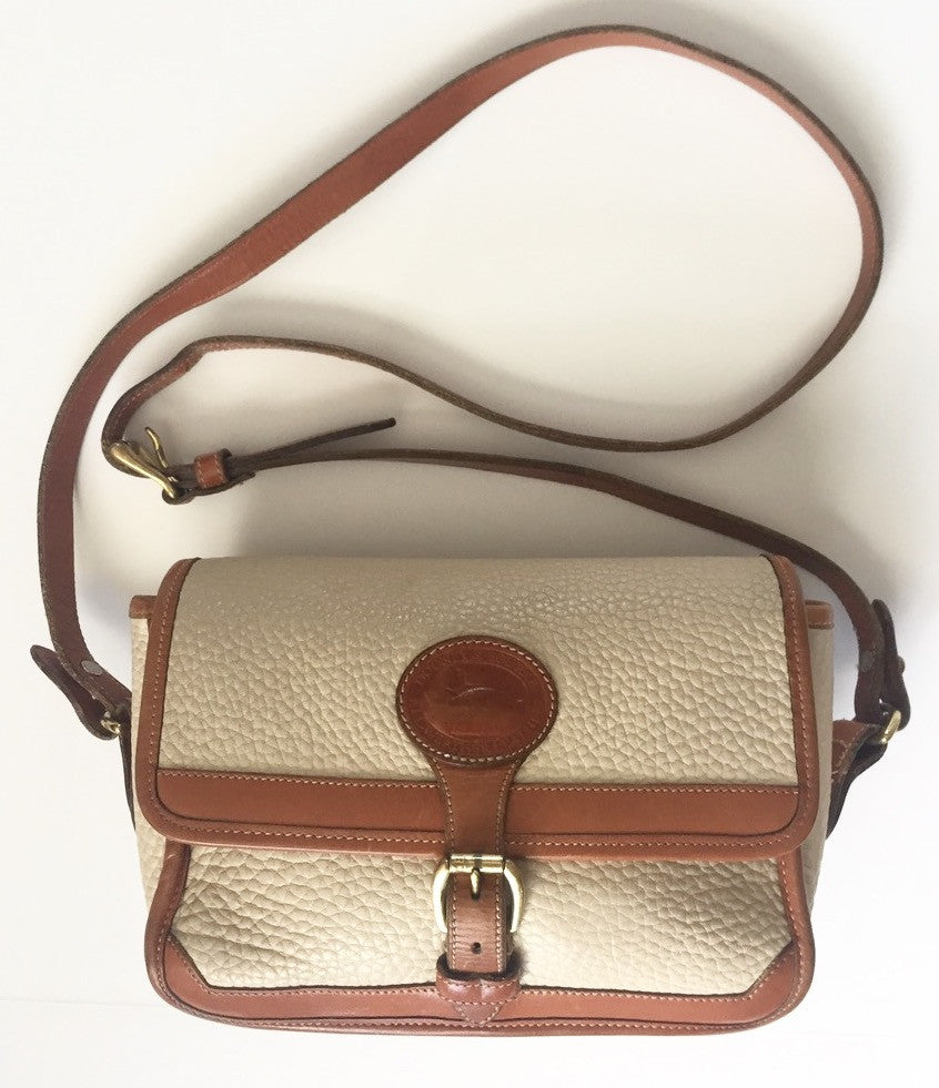 Vintage Dooney & Bourke Cream & Tan Leather Cross-Body Bag