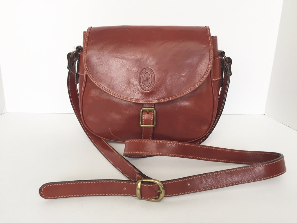 Vintage I Ponti Brown Italian Leather Cross Body Satchel Bag