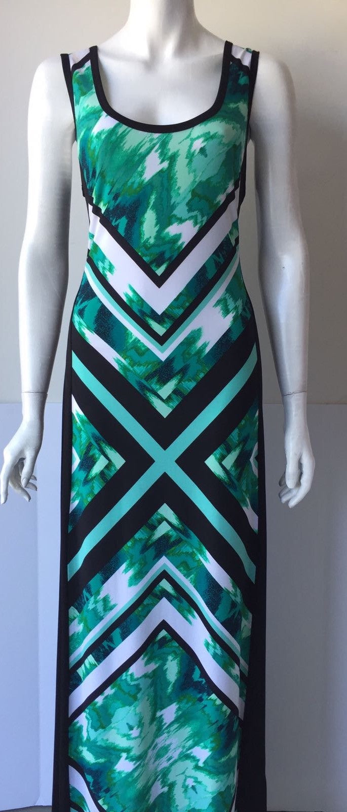 Calvin Klein Green & Black Sleeveless Maxi Dress Size L