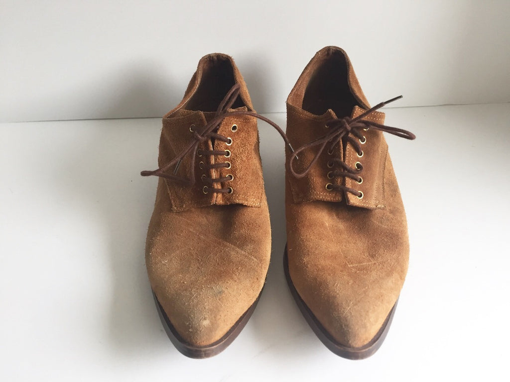 Vintage Lacey's Brown Suede Almond Toe Lace-Up Shoes Size 6