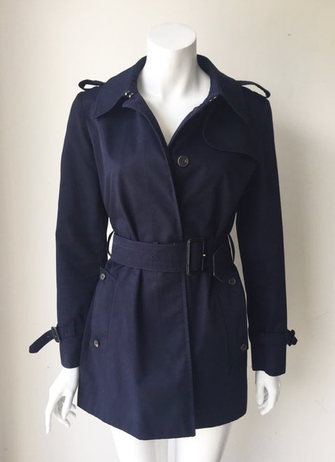 Aquascutum London Navy Blue Mid Length Trench Coat Size 6
