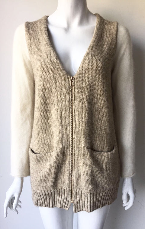 Zara Cream Knit Sweater Size M