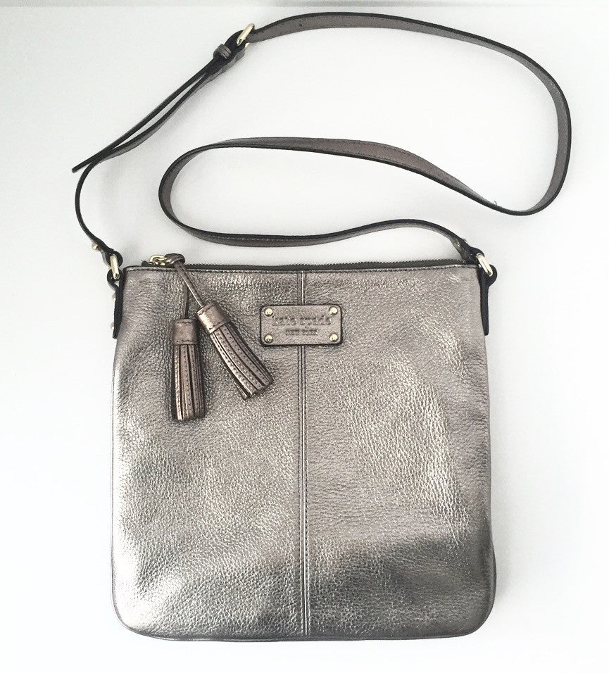 Kate Spade Metallic Grey Cross-Body Bag