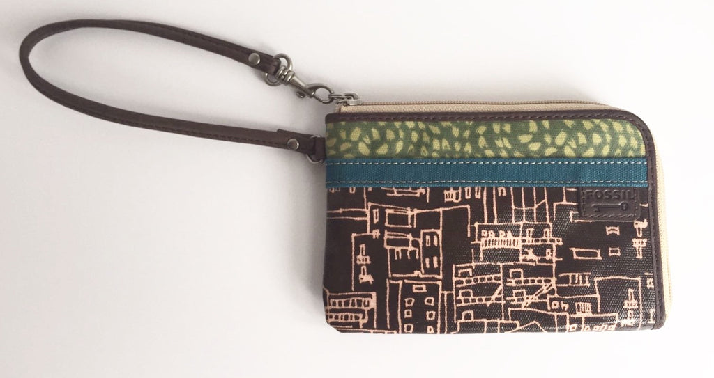 Fossil Small Multi-Colored Leather Wristlet Clutch