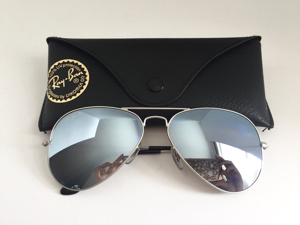 2a46a47c37 ... Ray-Ban RB3025 Silver Mirrored Polarized Aviator Sunglasses ...