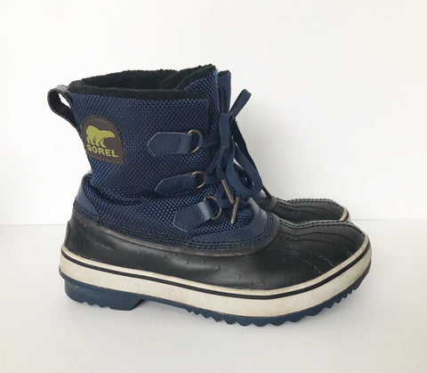 Sorel Blue Rubber & Canvas Snow Boots Size 7