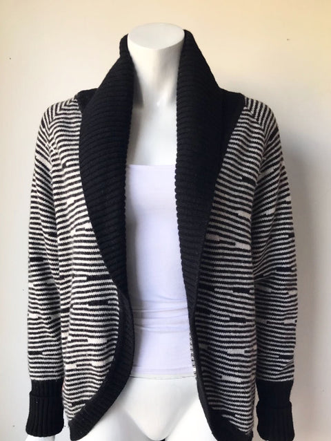 Bench Black & White Open Cardigan Sweater Size L