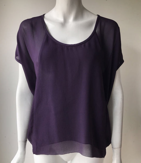 Babaton Leif Purple Silk Blouse Size XS