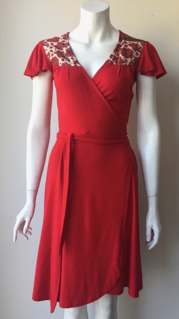 Zachary's Smile Red Flutter  Cap Sleeve Wrap Dress Size XS