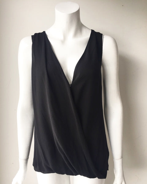T. Babaton Black Sleeveless Silk & Knit Blouse Size M