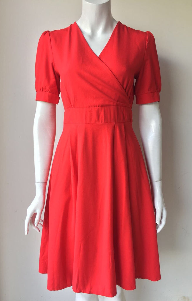 Nu New York Red A Line Midi Dress Size S