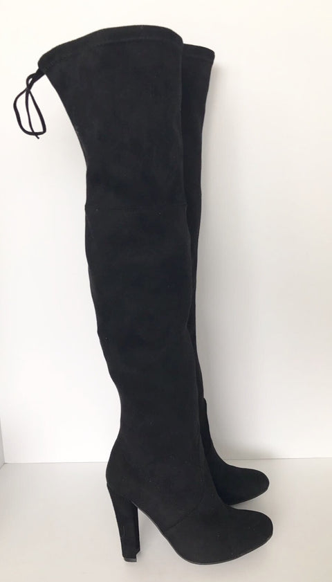 "Steve Madden Black ""Gorgeous"" Knee High Stiletto Suede Boots Size 6"