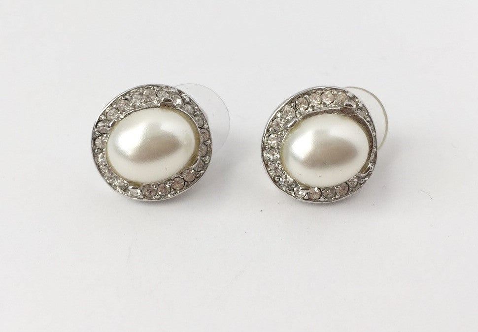 Kenneth Lane Pearl Button Crystal Stud Earring
