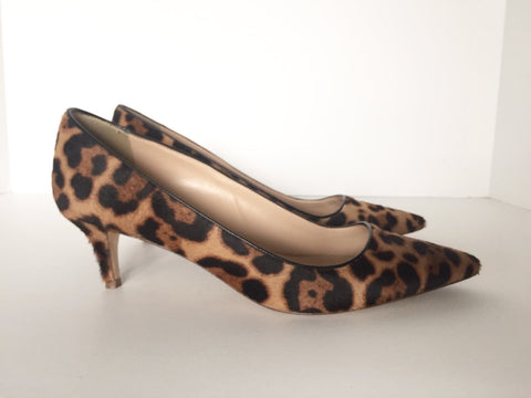 J.Crew Dulci Leopard Print Calf Hair Pointed Toe Pump Size 8.5