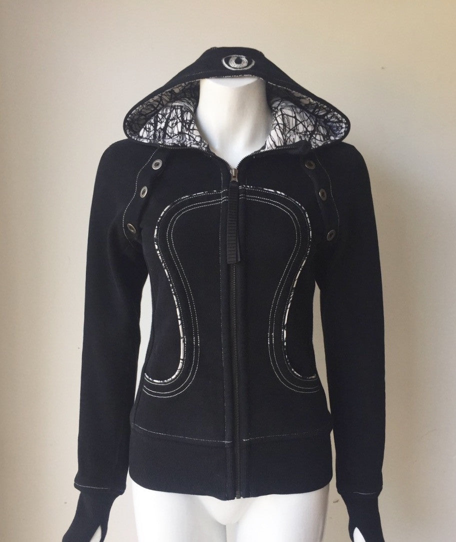 Lululemon Special Edition Black Hooded Sweater Jacket Size 4