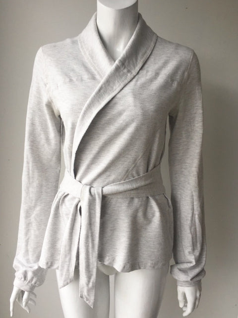 Lululemon Light Grey Front Tie Sweater Jacket Size 6