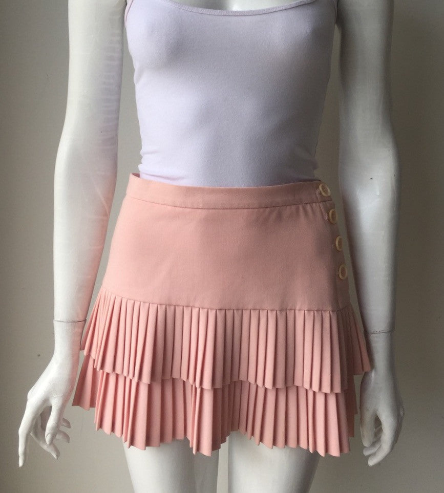 BCBG Max Azria Pink Pleated Mini Skirt Size 2