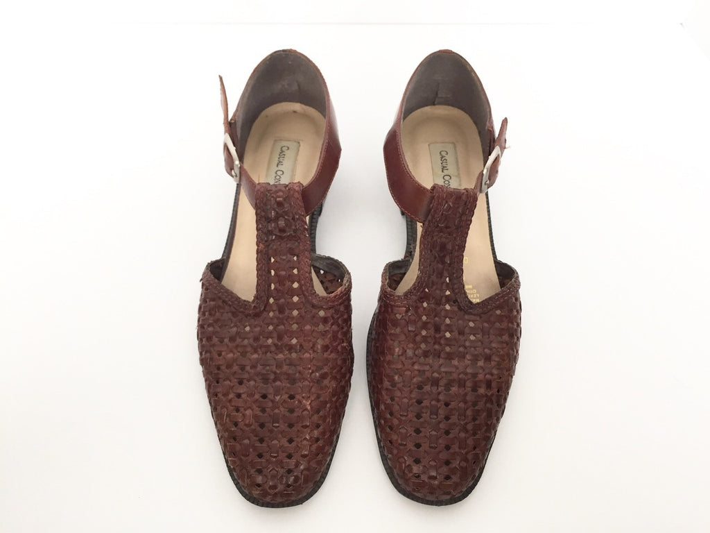 Vintage Casual Connection Brown Woven Leather Flats Size 7