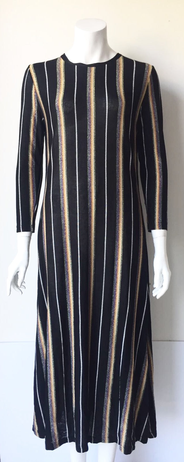 Mango Black Multi-Color Maxi Dress Size M