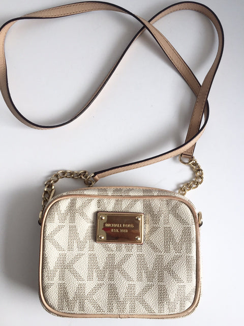 Michael Kors Monogram Runway Cream & Tan Small Cross-Body Bag