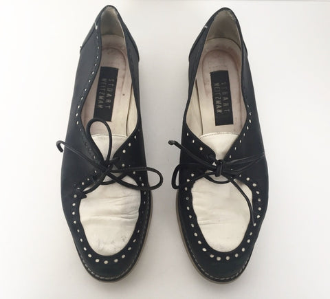 Vintage Stuart Weitzman Black & White Oxford Loafers Size 7.5