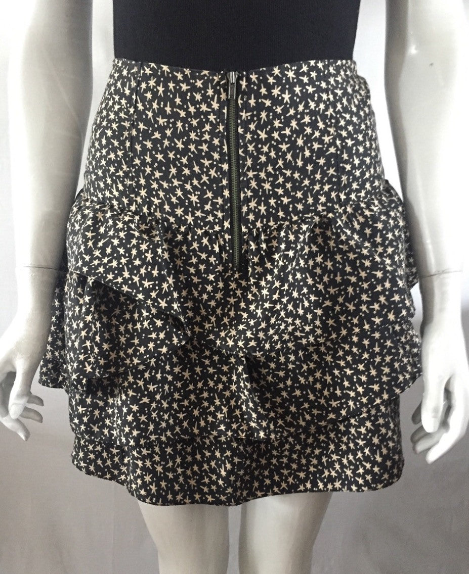 Wilfred Silk Ruffle Printed Mini Skirt Size 4