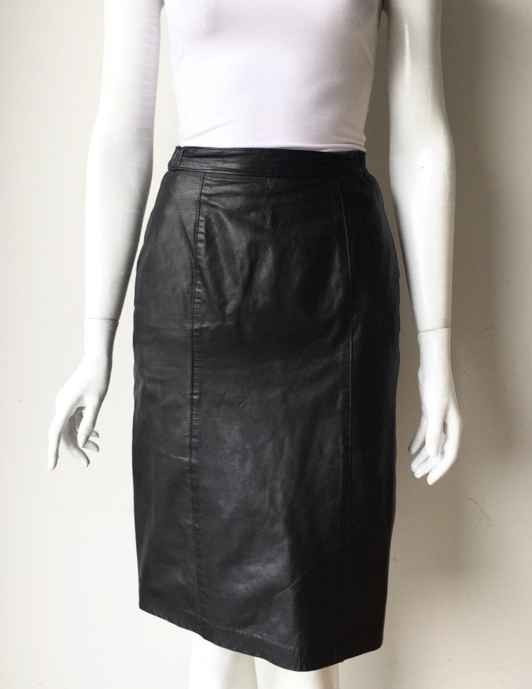 Vintage Black Leather Impromptu Skirt Size 4/6