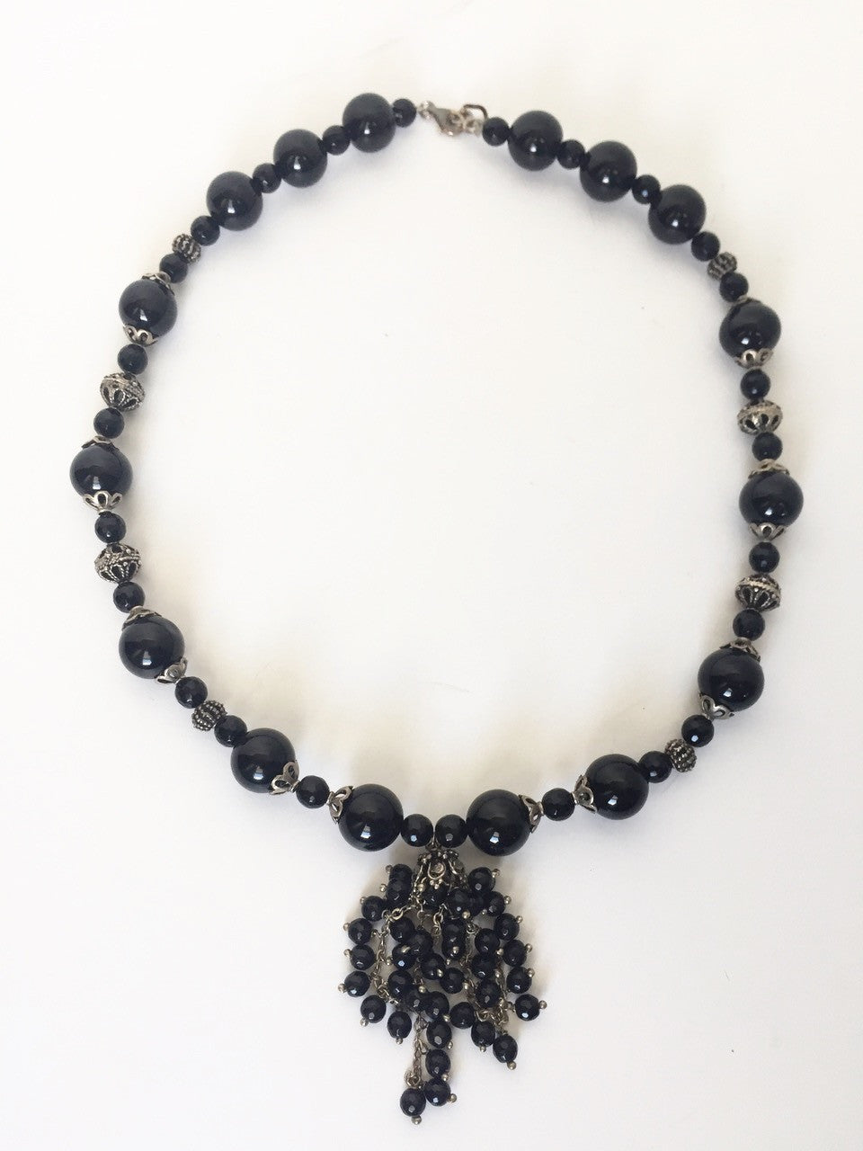 Handmade Black Beaded Statement Necklace