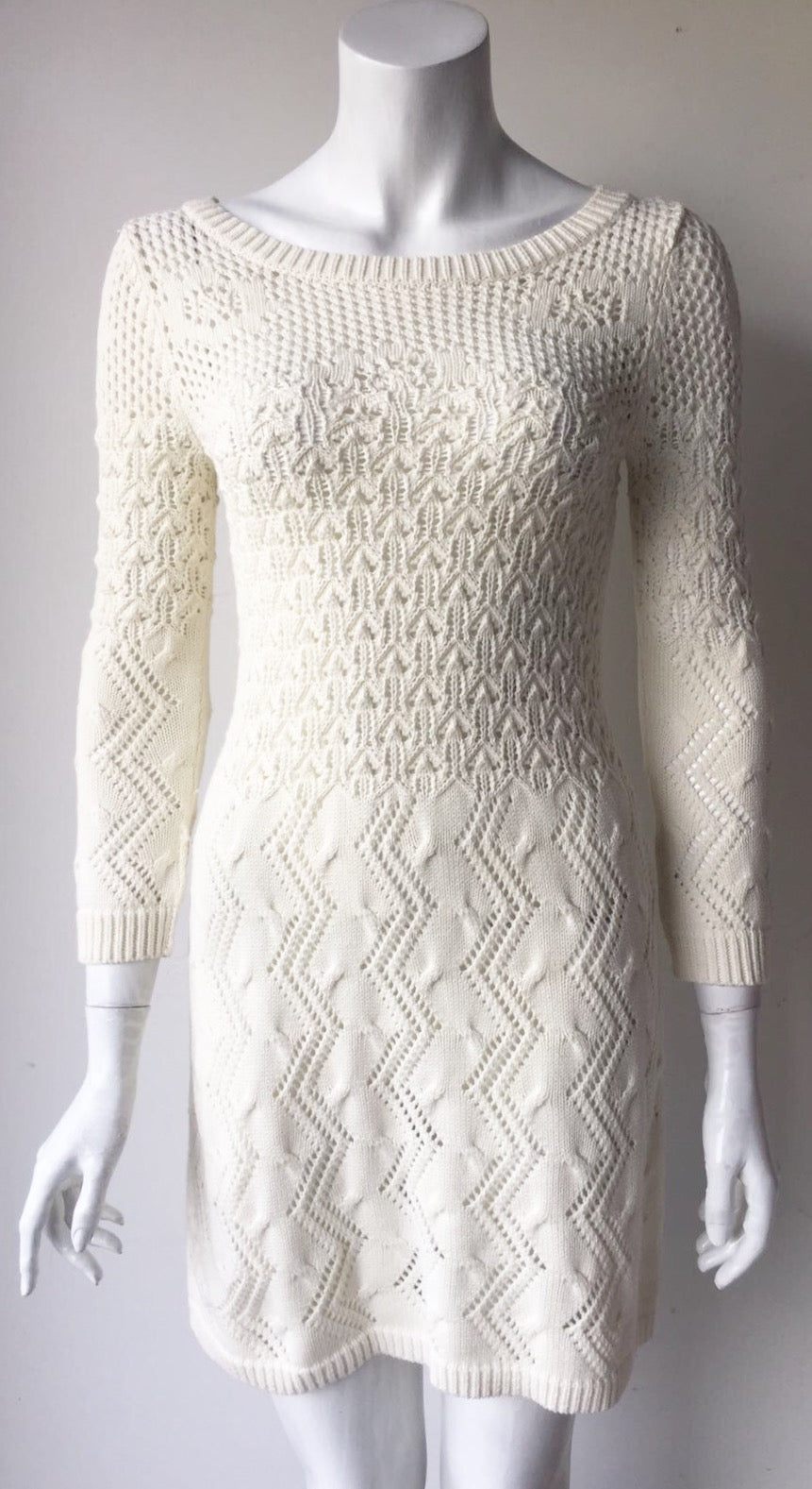 Topshop Cream Long Sleeve Knit Dress Size 4