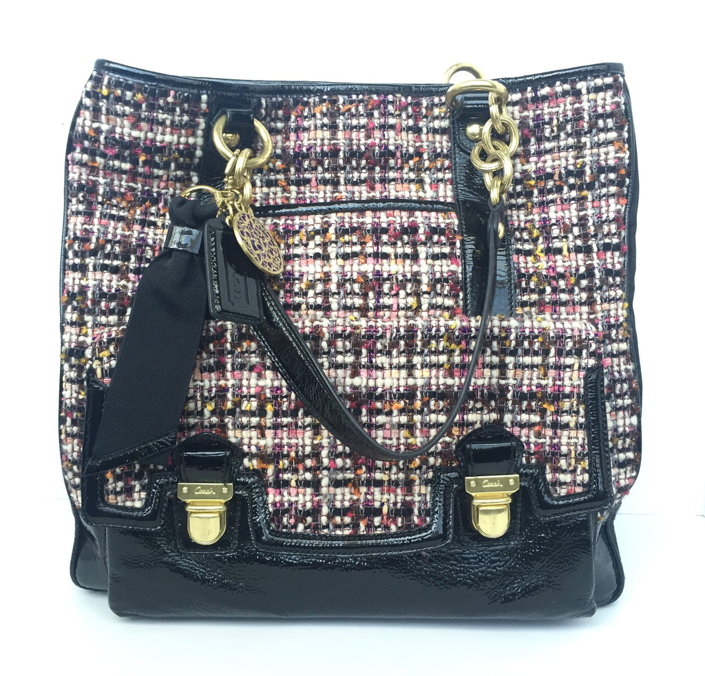 Coach Large Patent Leather Multi Color Tweed Tote