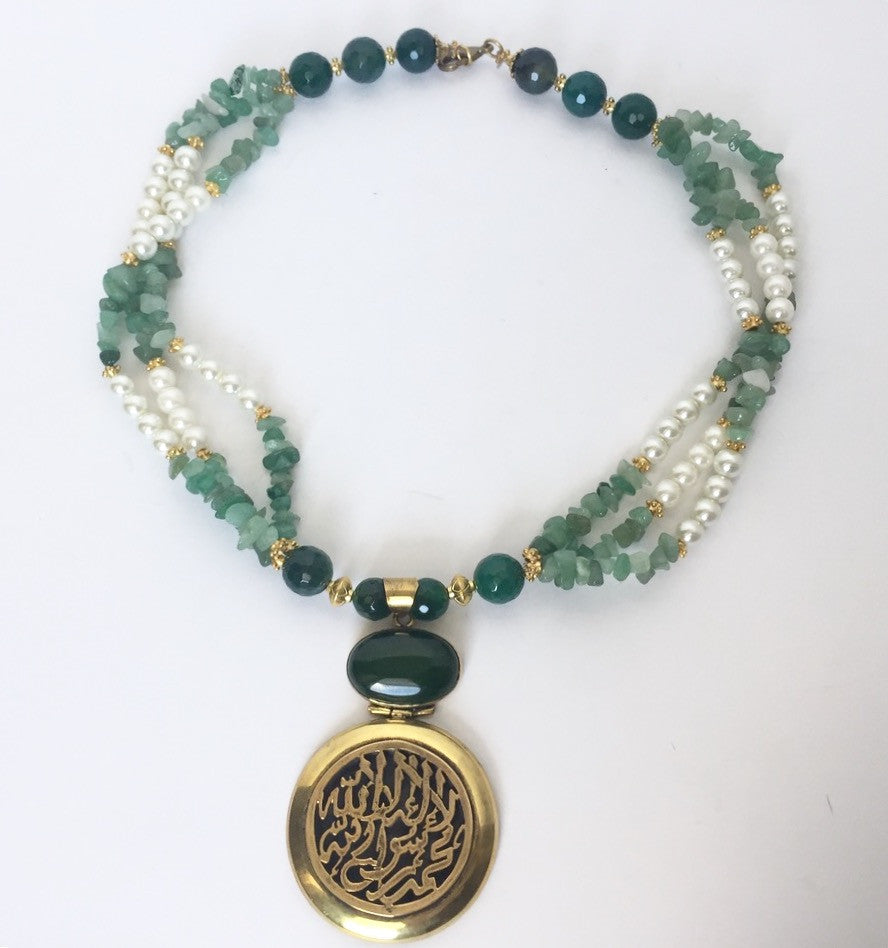 Handmade Delicate Green Beaded Necklace