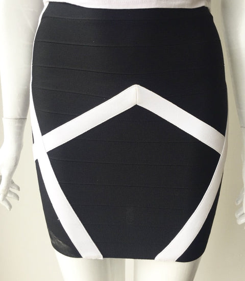 Guess by Marciano Black & White Bandage Skirt Size XXS
