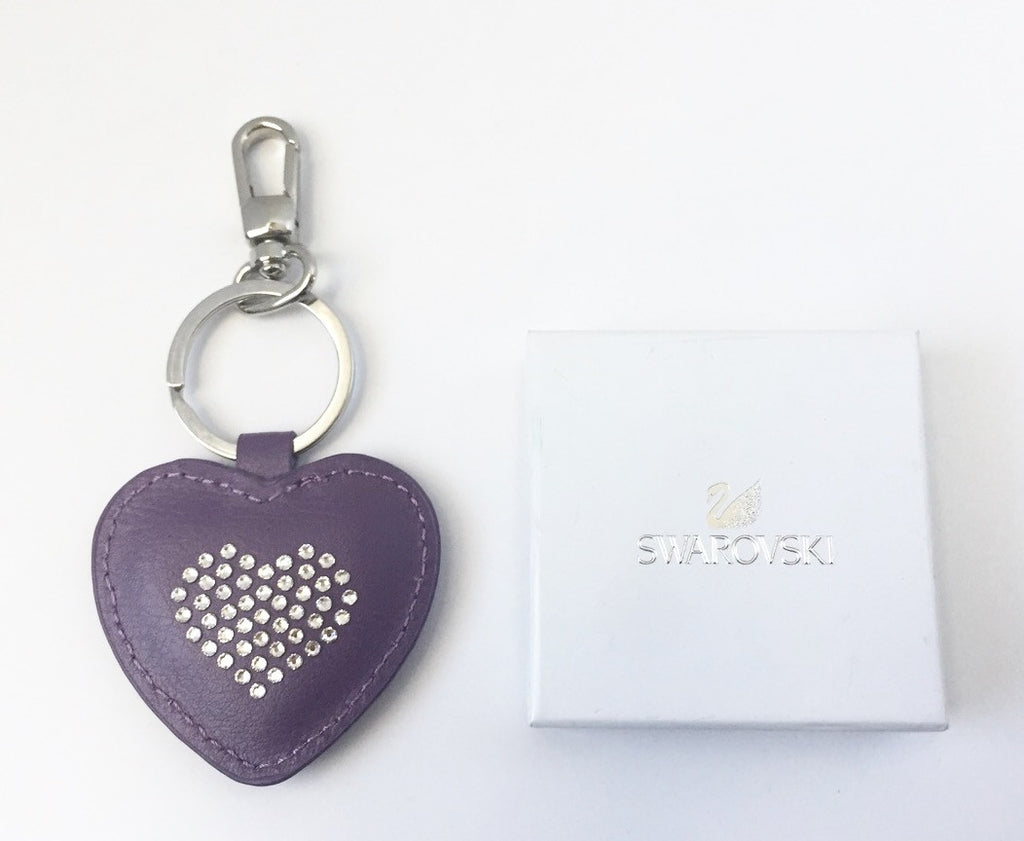 Brand New Swarovski Purple Heart Leather Key Ring