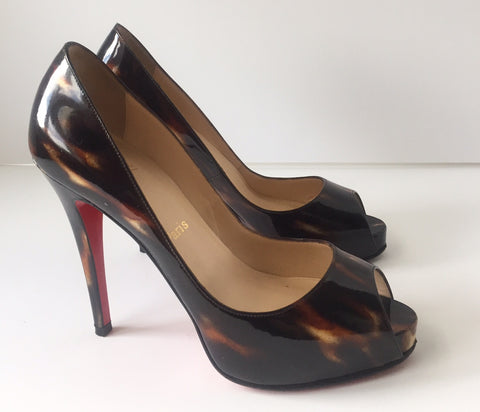 Christian Louboutin Very Prive 120 Tortoise Peep-toe Brown Pump Size 37.5 US 7.5