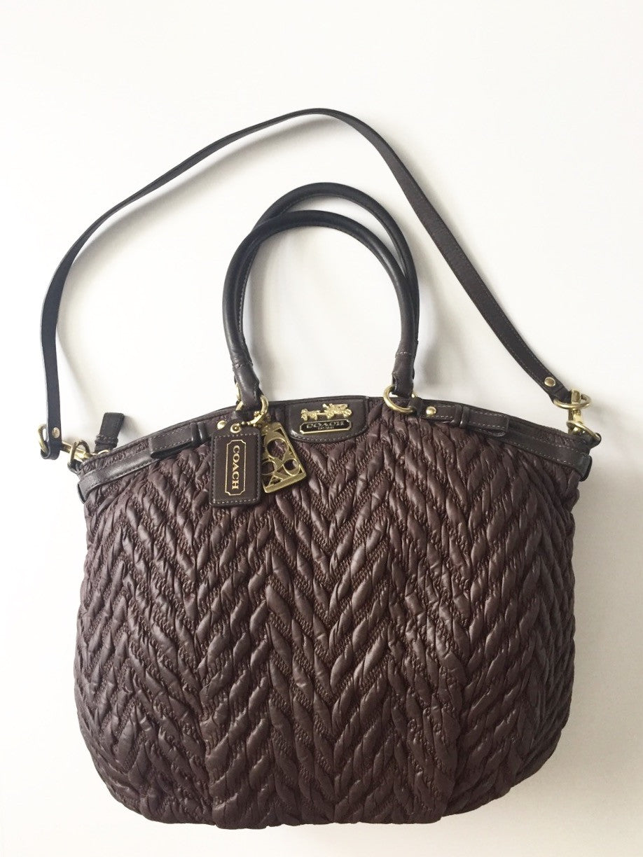 Coach Brown 70th Anniversary Madison Quilted Chevron Nylon Handbag