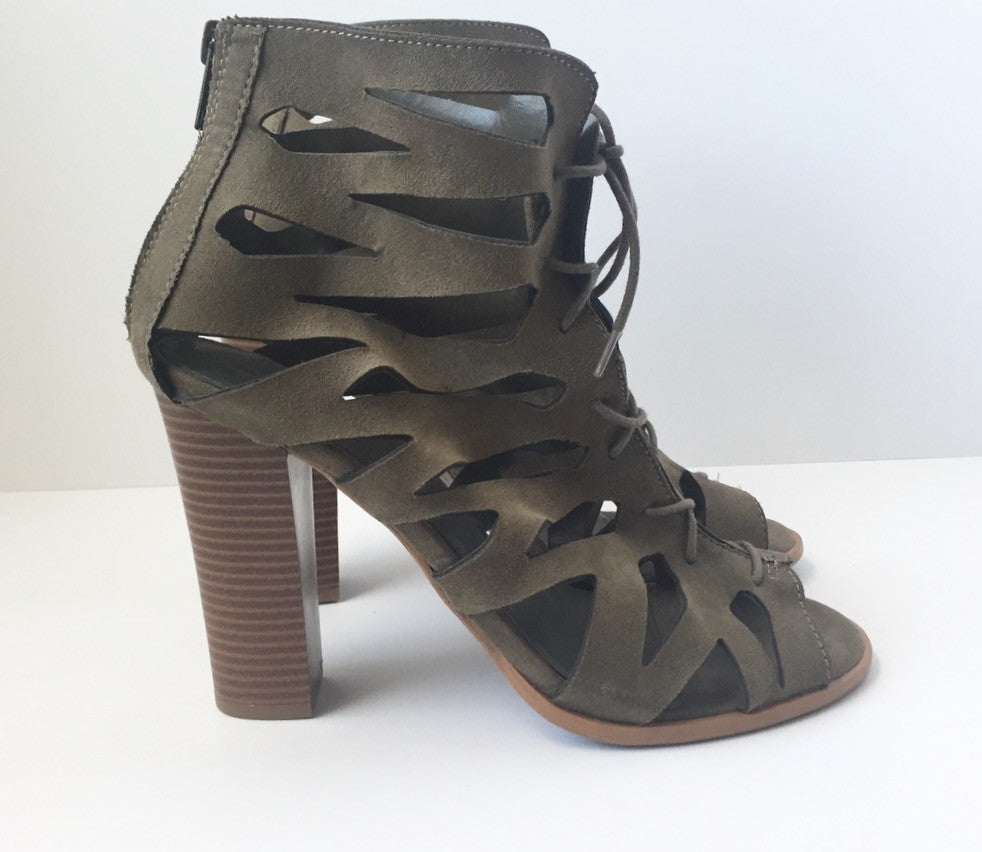 Brand New Spring Laser Cut Olive  Peep Toe Heels Size 10