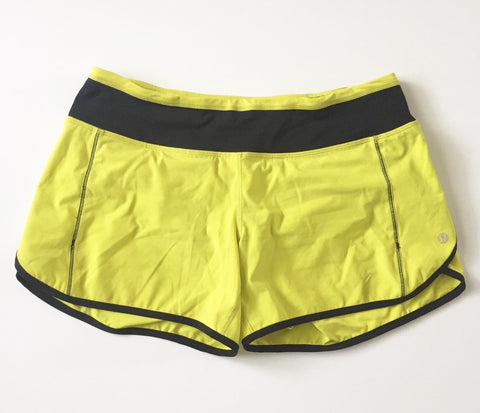 Lululemon Neon Yellow Running Shorts Size 6