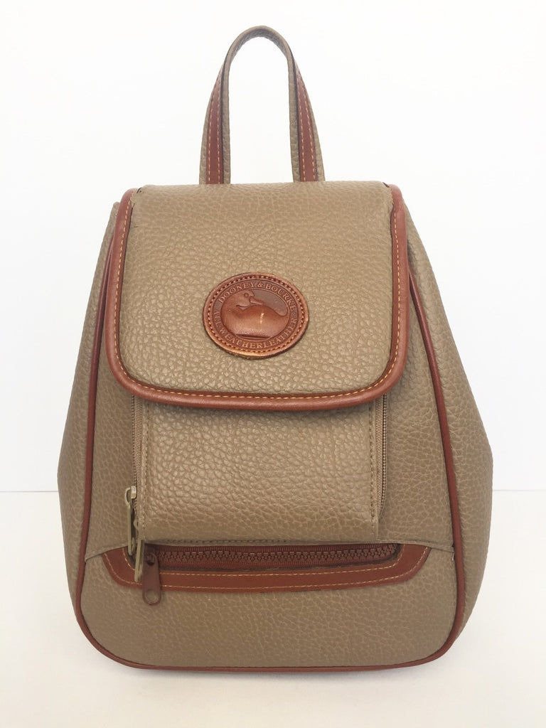 Vintage Dooney & Bourke Taupe & Brown Leather Backpack