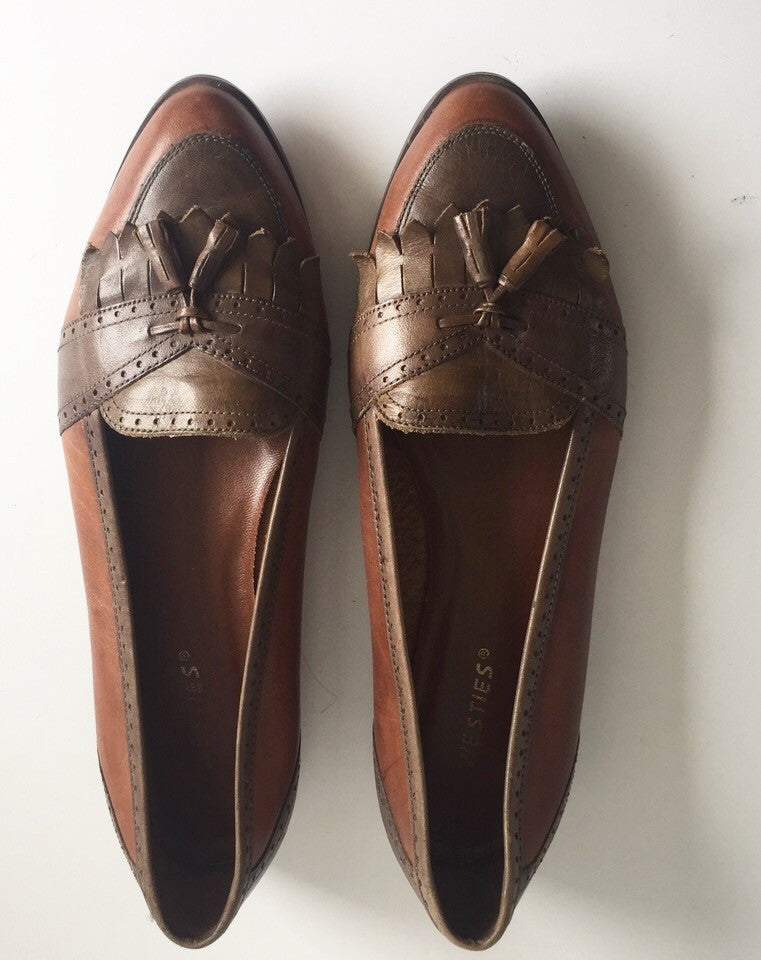 Vintage Westies Brown Leather Almond Toe Tassle Loafers Size 10