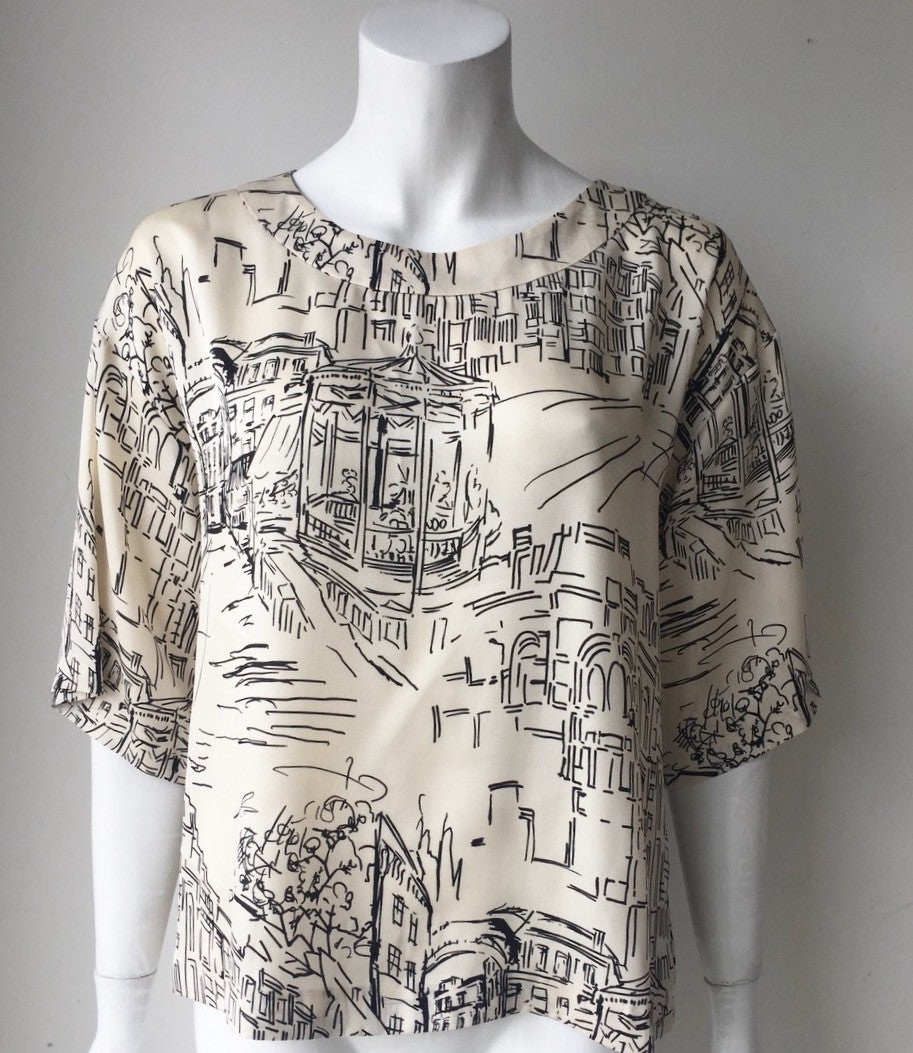 Elogy Printed Cream Blouse Size S