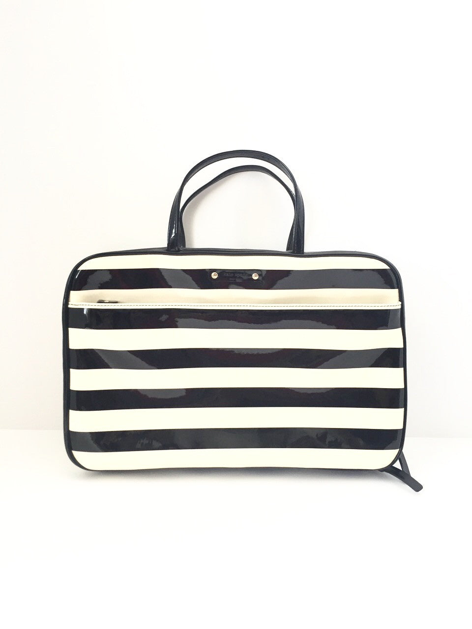 Brand New Kate Spade Black & Cream Stripe Travel Make-Up Bag