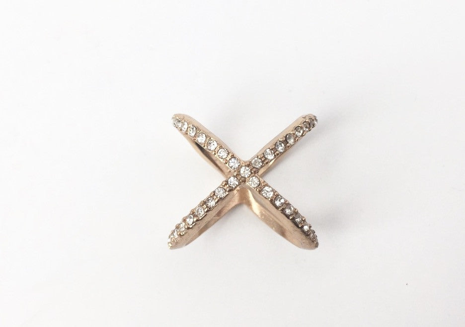 Anthropologie Gold Plated X Crystal Ring Size 6